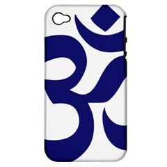 Hindu Om Symbol (midnight Blue) Apple Iphone 4/4s Hardshell Case (pc+silicone) by abbeyz71