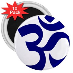 Om Symbol (navy Blue) 3  Magnets (10 Pack)  by abbeyz71