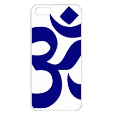 Om Symbol (navy Blue) Apple Iphone 5 Seamless Case (white) by abbeyz71