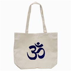 Om Symbol (navy Blue) Tote Bag (cream) by abbeyz71