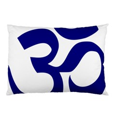Om Symbol (navy Blue) Pillow Case (two Sides) by abbeyz71