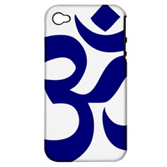 Om Symbol (navy Blue) Apple Iphone 4/4s Hardshell Case (pc+silicone) by abbeyz71