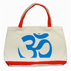 Hindu Om Symbol (ocean Blue) Classic Tote Bag (red) by abbeyz71