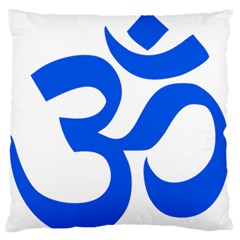 Hindu Om Symbol (blue) Large Flano Cushion Case (one Side) by abbeyz71