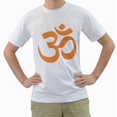 Hindu Om Symbol (sandy Brown) Men s T Shirt (white)  by abbeyz71