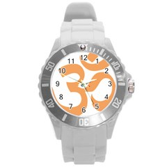 Hindu Om Symbol (sandy Brown) Round Plastic Sport Watch (l) by abbeyz71