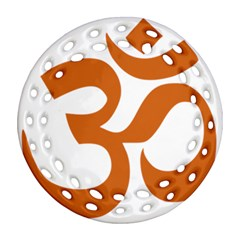 Hindu Om Symbol (chocolate Brown) Ornament (round Filigree) by abbeyz71