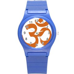 Hindu Om Symbol (chocolate Brown) Round Plastic Sport Watch (s) by abbeyz71