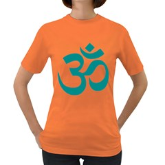 Hindu Om Symbol (dark Cyan) Women s Dark T Shirt by abbeyz71
