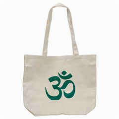 Hindu Om Symbol (dark Cyan) Tote Bag (cream) by abbeyz71