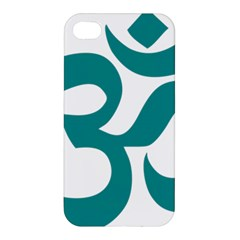 Hindu Om Symbol (dark Cyan) Apple Iphone 4/4s Premium Hardshell Case by abbeyz71