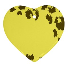 Banner Polkadot Yellow Grey Spot Heart Ornament (two Sides) by Mariart