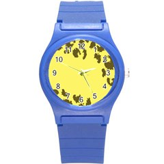 Banner Polkadot Yellow Grey Spot Round Plastic Sport Watch (s) by Mariart