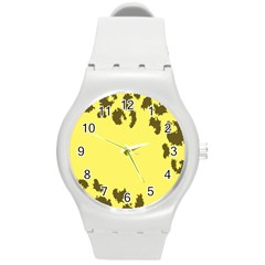 Banner Polkadot Yellow Grey Spot Round Plastic Sport Watch (m) by Mariart