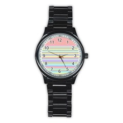 All Ratios Color Rainbow Pink Yellow Blue Green Stainless Steel Round Watch