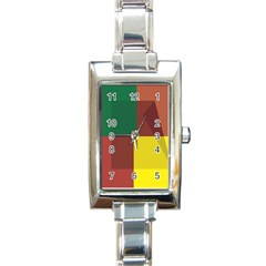 Albers Out Plaid Green Pink Yellow Red Line Rectangle Italian Charm Watch