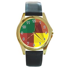 Albers Out Plaid Green Pink Yellow Red Line Round Gold Metal Watch by Mariart