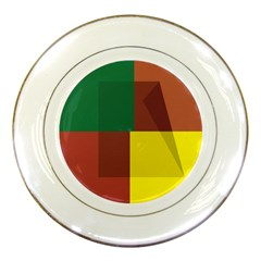 Albers Out Plaid Green Pink Yellow Red Line Porcelain Plates by Mariart