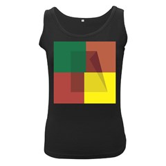 Albers Out Plaid Green Pink Yellow Red Line Women s Black Tank Top