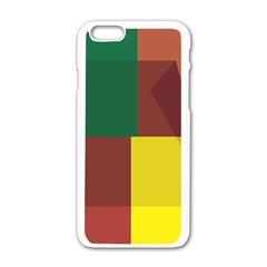 Albers Out Plaid Green Pink Yellow Red Line Apple Iphone 6/6s White Enamel Case by Mariart