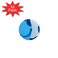 Blue Polka 1  Mini Magnet (10 Pack)  by Mariart