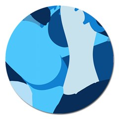 Blue Polka Magnet 5  (round) by Mariart