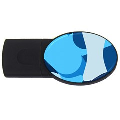 Blue Polka Usb Flash Drive Oval (4 Gb) by Mariart