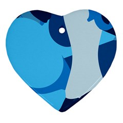 Blue Polka Heart Ornament (two Sides)