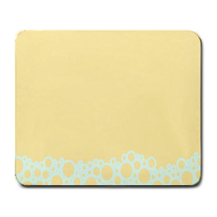 Bubbles Yellow Blue White Polka Large Mousepads