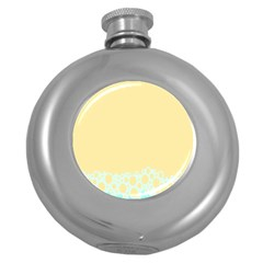 Bubbles Yellow Blue White Polka Round Hip Flask (5 Oz) by Mariart
