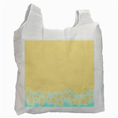 Bubbles Yellow Blue White Polka Recycle Bag (one Side) by Mariart