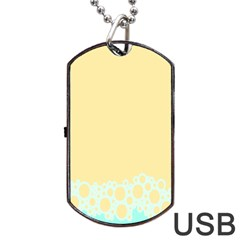 Bubbles Yellow Blue White Polka Dog Tag Usb Flash (two Sides) by Mariart