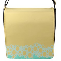 Bubbles Yellow Blue White Polka Flap Messenger Bag (s) by Mariart