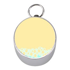 Bubbles Yellow Blue White Polka Mini Silver Compasses by Mariart