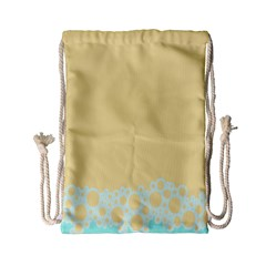 Bubbles Yellow Blue White Polka Drawstring Bag (small) by Mariart