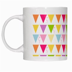 Bunting Triangle Color Rainbow White Mugs by Mariart