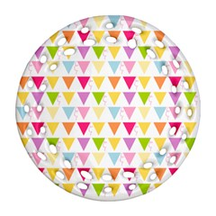 Bunting Triangle Color Rainbow Ornament (round Filigree) by Mariart