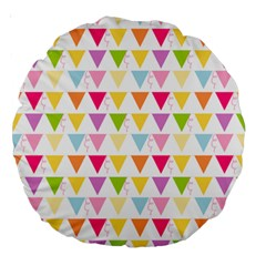 Bunting Triangle Color Rainbow Large 18  Premium Round Cushions by Mariart