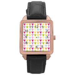 Bunting Triangle Color Rainbow Rose Gold Leather Watch  by Mariart
