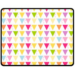 Bunting Triangle Color Rainbow Double Sided Fleece Blanket (medium)  by Mariart
