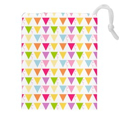 Bunting Triangle Color Rainbow Drawstring Pouches (xxl) by Mariart