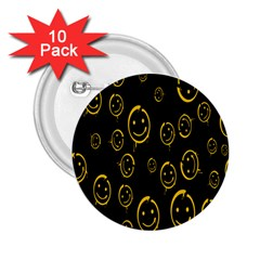 Face Smile Bored Mask Yellow Black 2 25  Buttons (10 Pack)