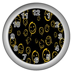 Face Smile Bored Mask Yellow Black Wall Clocks (silver)  by Mariart