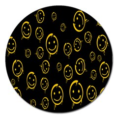 Face Smile Bored Mask Yellow Black Magnet 5  (round) by Mariart