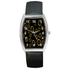 Face Smile Bored Mask Yellow Black Barrel Style Metal Watch by Mariart