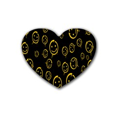 Face Smile Bored Mask Yellow Black Heart Coaster (4 Pack)
