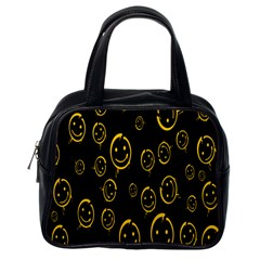 Face Smile Bored Mask Yellow Black Classic Handbags (one Side) by Mariart