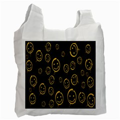 Face Smile Bored Mask Yellow Black Recycle Bag (one Side) by Mariart