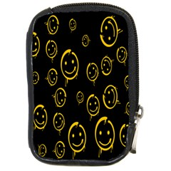 Face Smile Bored Mask Yellow Black Compact Camera Cases by Mariart