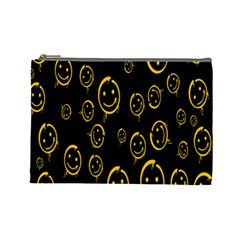 Face Smile Bored Mask Yellow Black Cosmetic Bag (large)  by Mariart